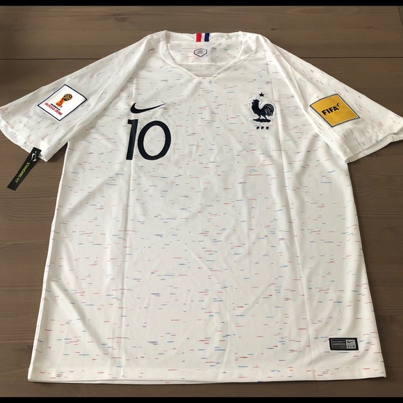 f7f2641d495 France white Mbappe  10 Soccer Jersey Nike men